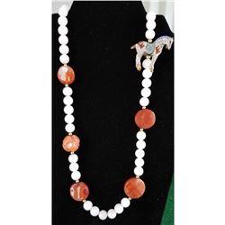 Lot 717 - Jewelry Cloisonne Horse Charm & Quartz Necklace