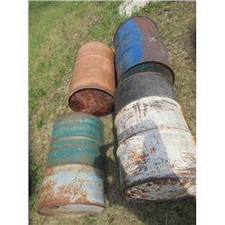 4) 45 Gal Steel Barrels- 1 Has Open End