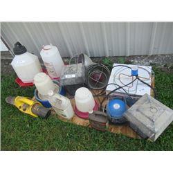 Chicken Waterers, Brooder Lights, Yard Fogger, 3) Water Tank Heaters -1 New, Bug Zapper, Pet Carrier