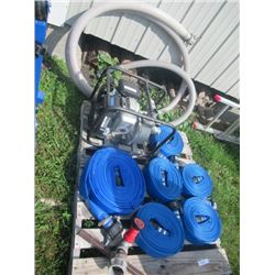 """5 HP Honda 2"""" Water Pump w Suction Hose & 325' of Discharge Hose W Sprinkler & Nozzle"""