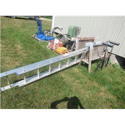 13.5' Alum Ext Ladder, 2 Adj Roller Stands, 2 Saw Horses