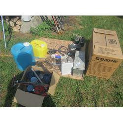 Live trap, Kerosene Heater, 2 Fishing Rods, & Camping Items