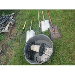 2 Barn Forks, 2 Alum Shovels, Steel Shovels, Potato Fork, Rope, Bungee Straps
