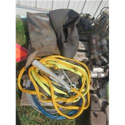 """Tow Rope, Cable, Implement Jack, 2 Submergible Pumps, Tire Tubes, 1) 34"""" 1) 15"""""""