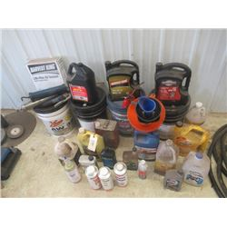 Partial Oils, Lubes, Antifreeze, Full Case of Grease Tubes, & Grease Guns