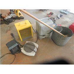 Construction Heater, 2 Elec Heaters, Hot Plate & Galvanized Mop Pail