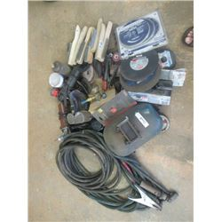 2 Sets Welding Cable, Welding Mask, 2) Angle Grinders, Discs, Wire Brushes, & CO2 Regulator