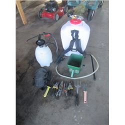 Grass Seed Broadcaster, Back Pack Spryer, Bottle Sprayer, &  Flower Bed Tools