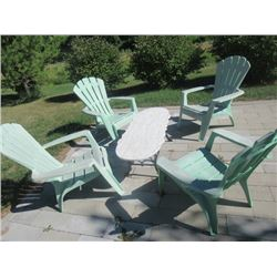 Patio Wrought Iron Marble Table & 4 Chairs