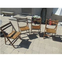4 Wood Folding Chairs