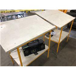 2 METAL/WOOD WORK TABLES