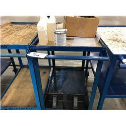 BLUE STEEL 4 WHEEL SHOP CART