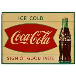 Ice Cold Coca-Cola Fishtail Bottle Tin Sign