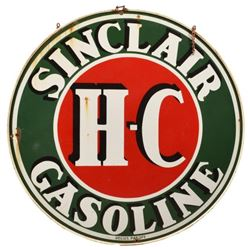 H-C Sinclair Round 4 Ft Porcelain Sign In Frame
