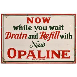 "Sinclair Opaline ""Drain & Refill"" Porcelain Sign"