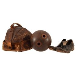 Wooden Bowling Ball in Leather Case with Shoes