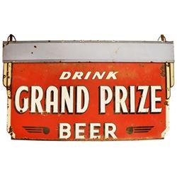 Large Grand Prize Beer Hanging Porcelain Sign