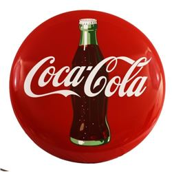 "Coca-Cola Bottle 36"" Red Button Sign"