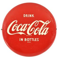 Drink Coca-Cola In Bottles Red Button Sign