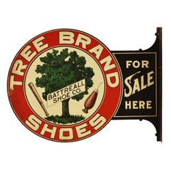Tree Brand Shoes Lithographed Tin Flange Sign
