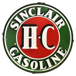 H-C Sinclair Gasoline 6 Ft Round Porcelain Sign