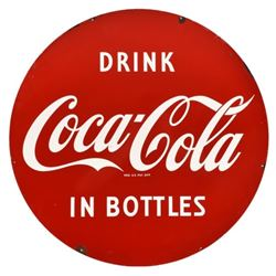 """Coca-Cola 30"""" Round Double Sided Porcelain Sign"""