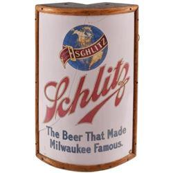 Pre-Prohibition Schlitz Beer Lighted Corner Sign