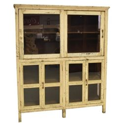 Glass Front Cupboard W/ Four Doors In Bottom