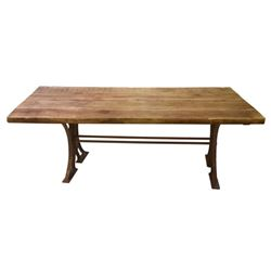 Hearty Plank Top Dining Table W/ Cast Iron Base