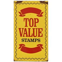 Top Value Stamps Double Sided Tin Sign