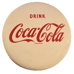 "Drink Coca-Cola 16"" White Button Sign"