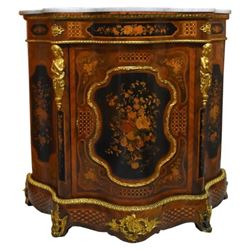 Ornate French Revival Marble Top Cabinet