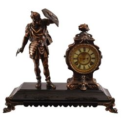 Viking Bronze Figural Clock