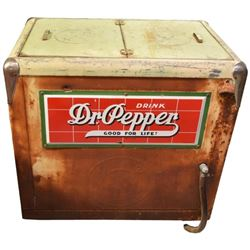 Dr Pepper Reach In-Cooler With Porcelain Signs