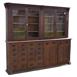 Large Country Store Two Piece Cabinet
