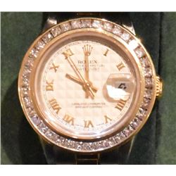 18kt Gold and Stainless Steel Diamond Rolex Watch