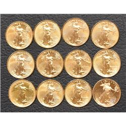 Liberty 1/10 Oz Fine Gold Eagle Coins (12)