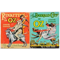 Pair of Oz Junior Editions, The Emerald City of Oz, Rinkitink in Oz