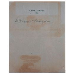 Somerset Maugham signed sheet of note paper