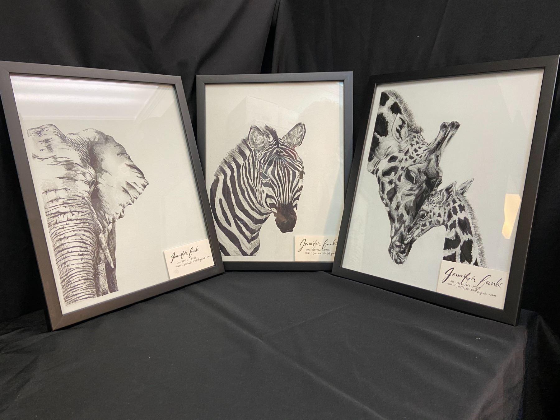 Set of 3 Original Framed African Animal Drawings