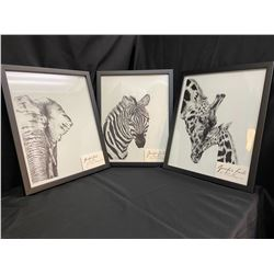 Set of 3 Original Framed African Animal Drawings