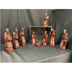 Hand-carved Wooden African Nativity Set