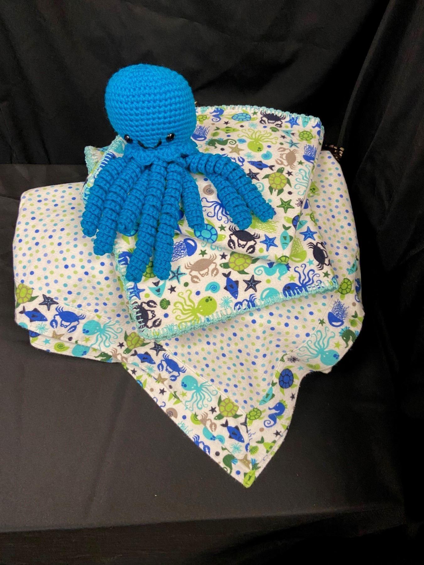 Baby Blanket Set  (White/Greens/Blues)