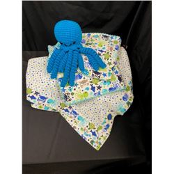 Baby Blanket Set  (White/Greens/Blues)