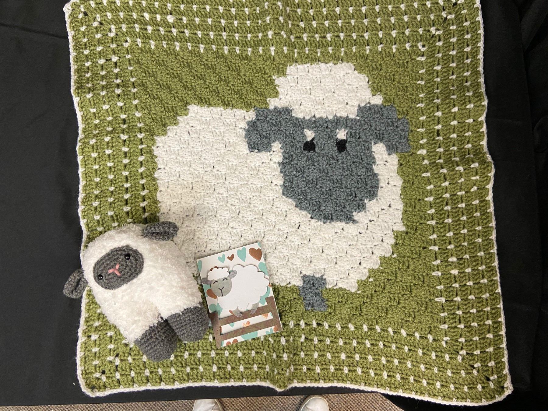 Crocheted Lamb Baby Blanket Set