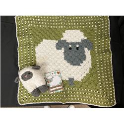 Crocheted Lamb Baby Blanket Set