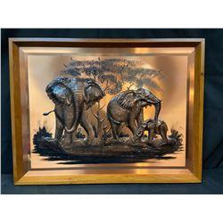 "Copper Wall Decor - ""Elephants"""