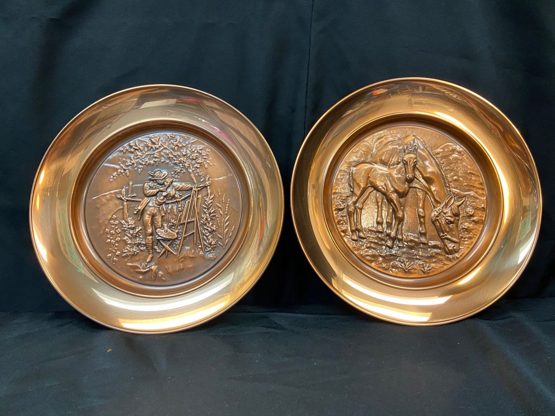Copper   Farm Scene  Plates - Set of 2