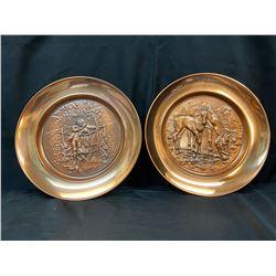 """Copper  """"Farm Scene"""" Plates - Set of 2"""