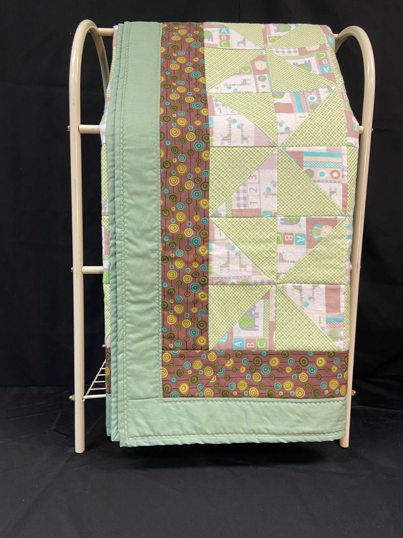 Handmade Baby Quilt - Green/Brown